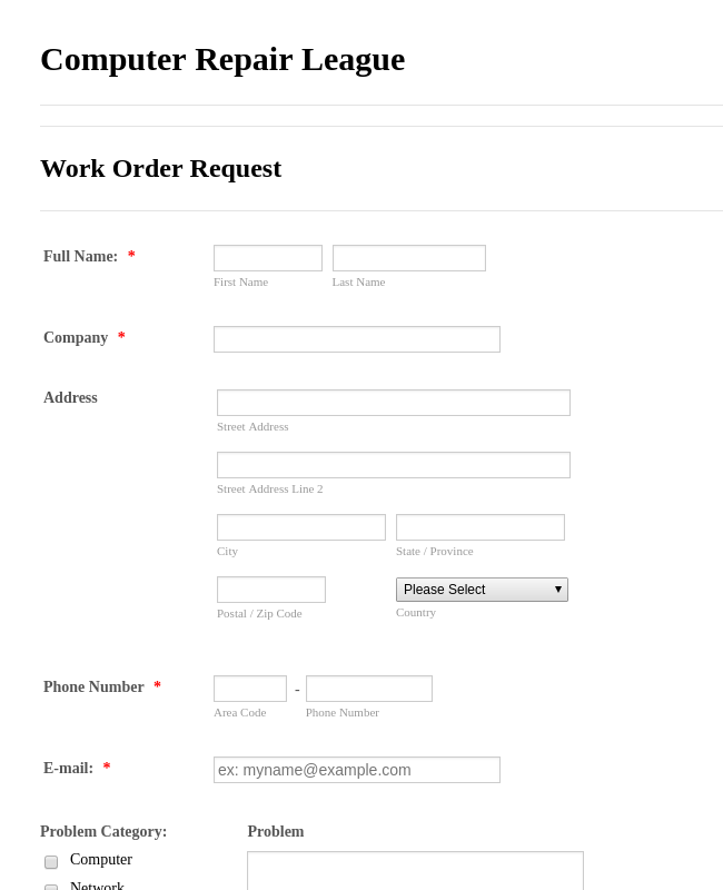 It Service Request Form 3