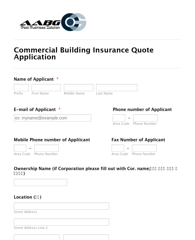 Commercial Building Insurance Application