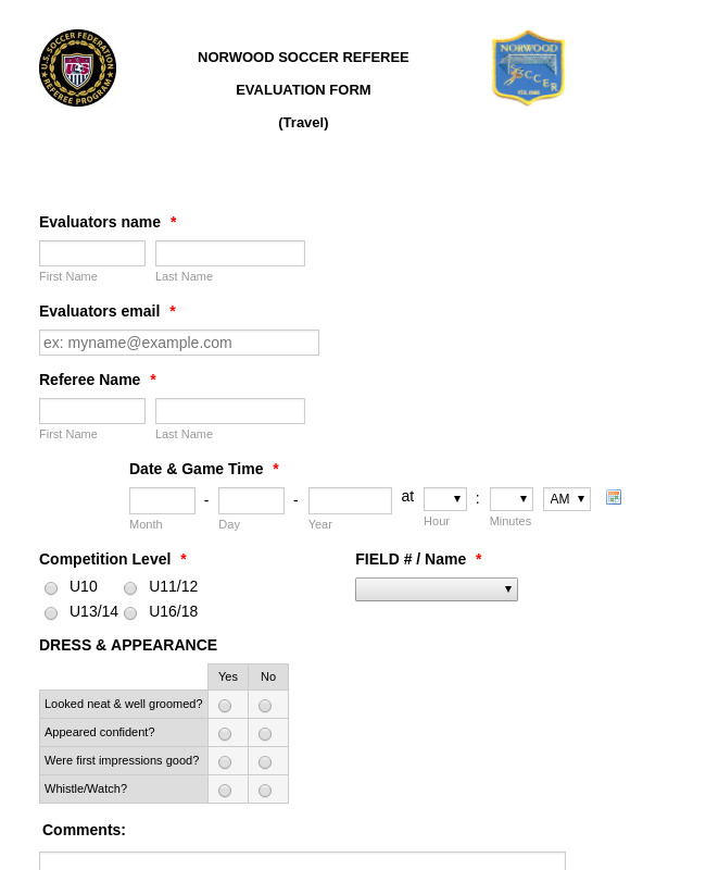 Referee Evaluation Form