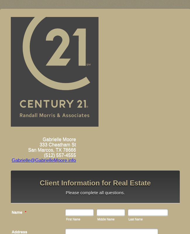 Client Information for Real Estate