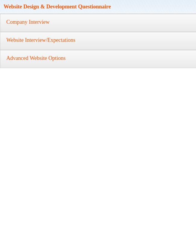 Website Design & Development Questionnaire