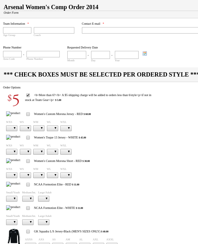 Order Form with images, sizes and quantity options
