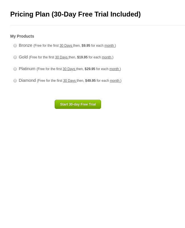 Multiple Choice Recurring Subscriptions