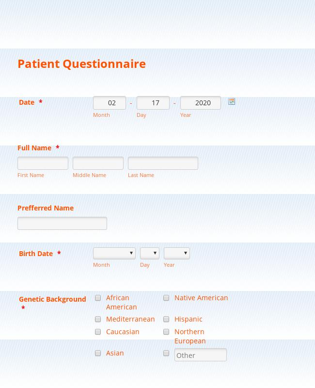 Alternative Medicine-Patient Intake form