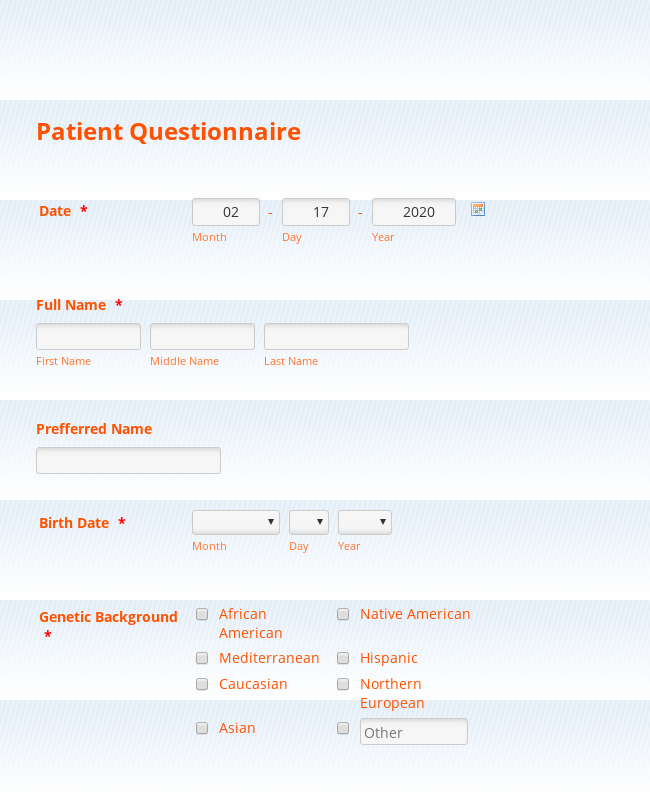 Alternative Medicine-Patient Intake form