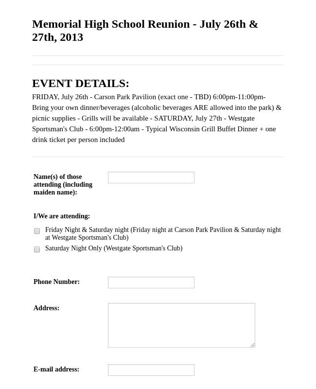 Reunion Registration Form 2