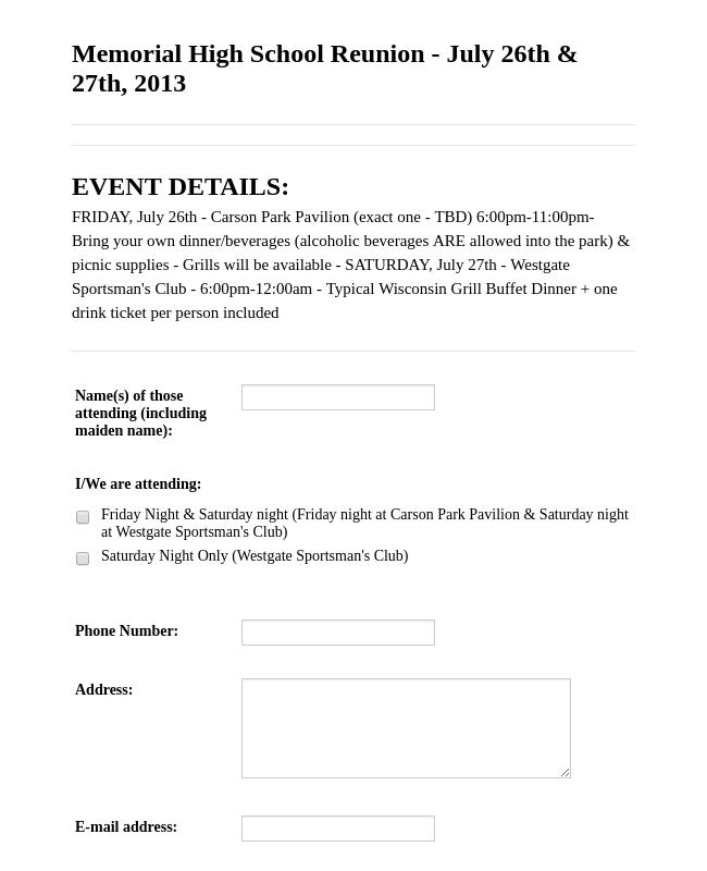 Reunion Registration Form
