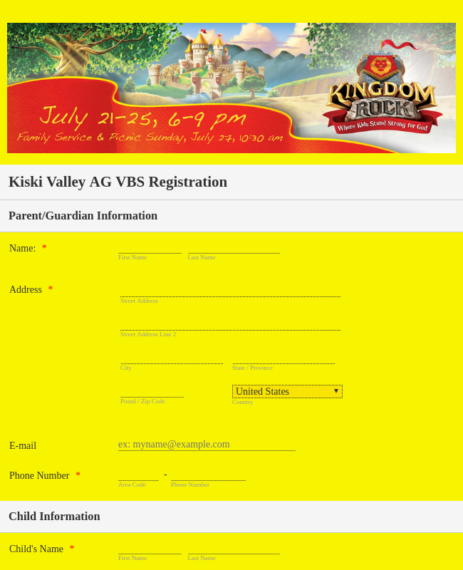 Kids Camping Registration