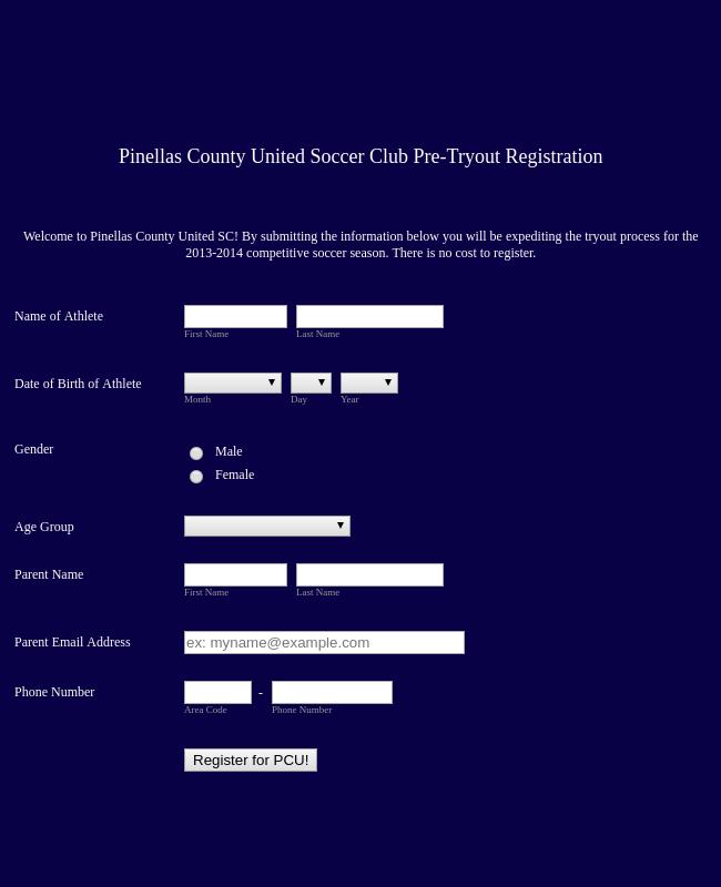 Pre Tryout Club Registration Form