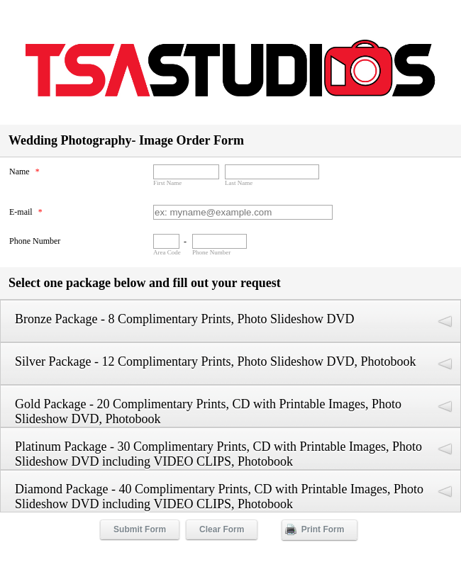 Photography Package Order Form
