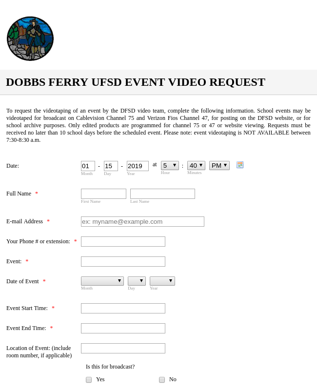 Event Video Request Form