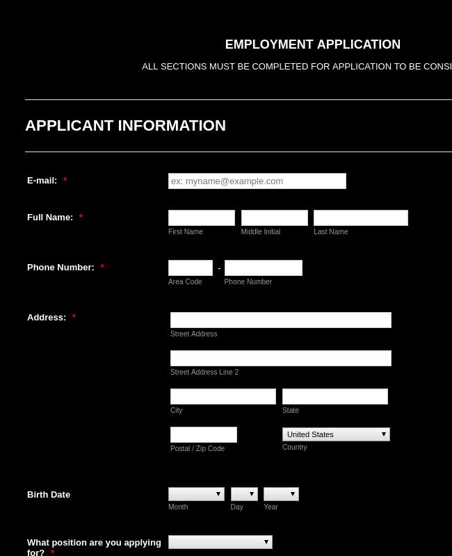 Pizza Restaurant Employment Application Form