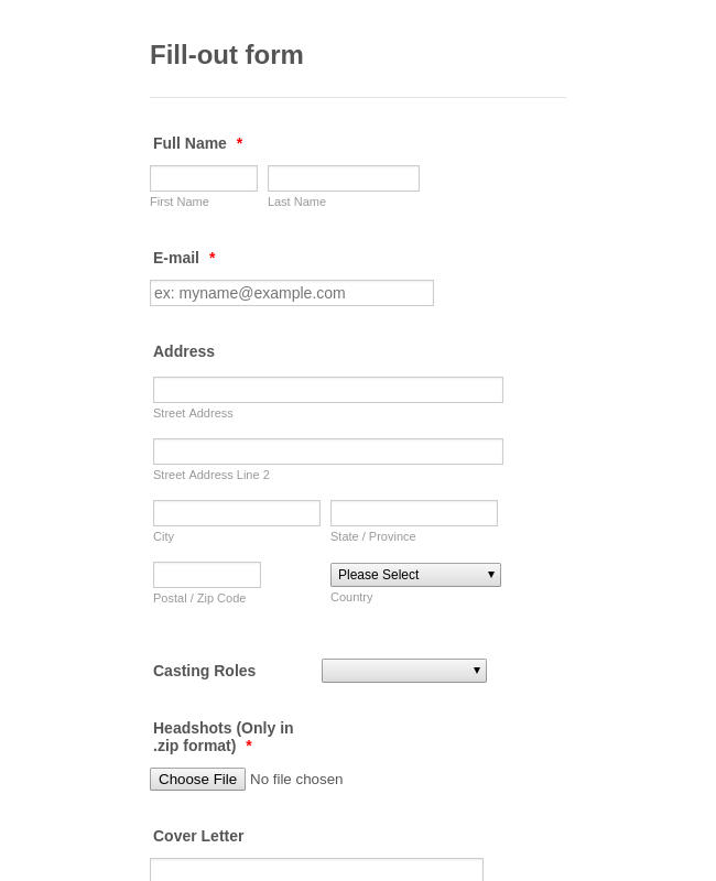 Casting Fill-out form