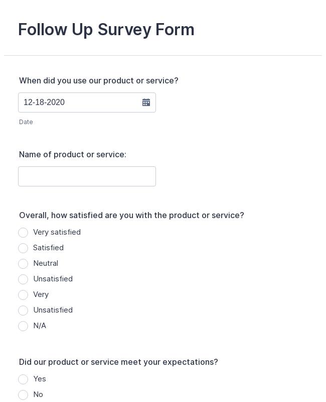 Follow Up Survey Form