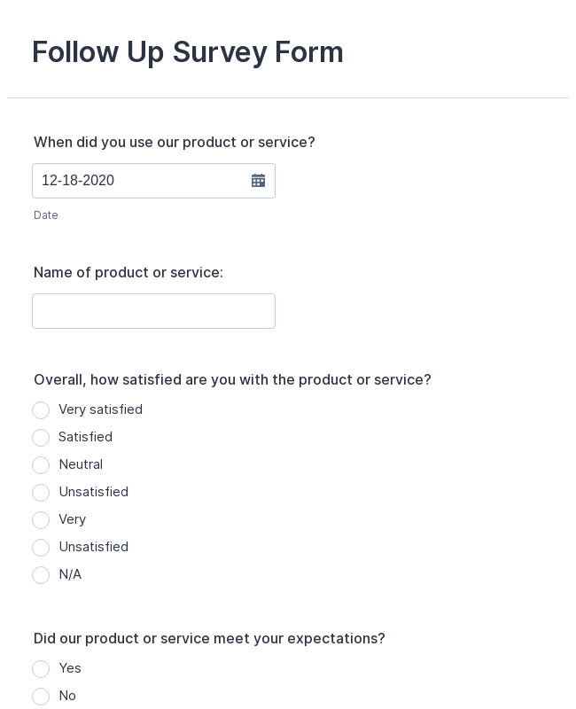 Follow up Survey Form - Product and Service