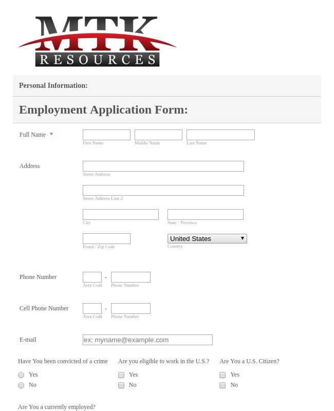 Employment Application Form MTK