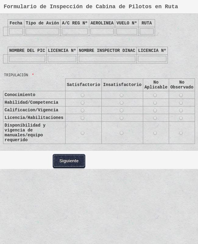 Formulario de Inspección de Cabina de Pilotos en Ruta