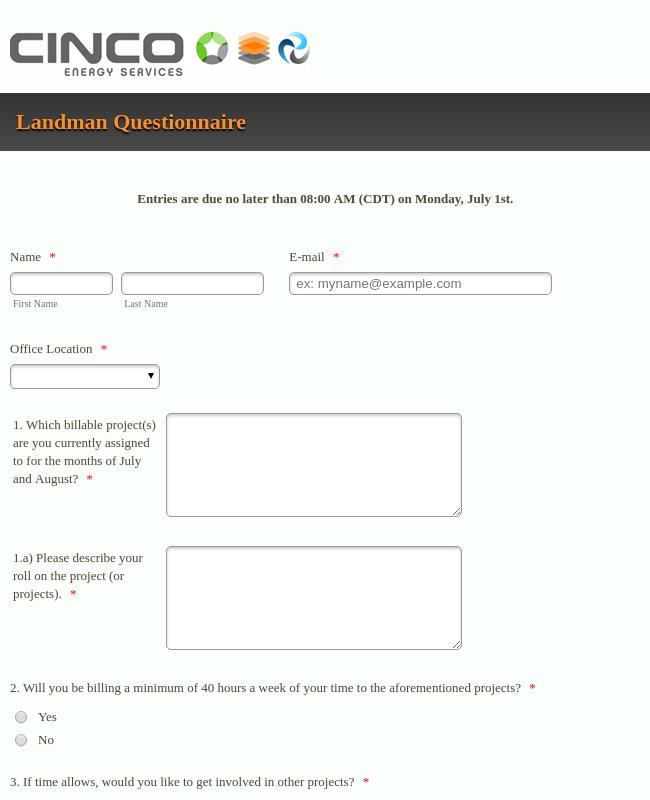 Landman Questionnaire
