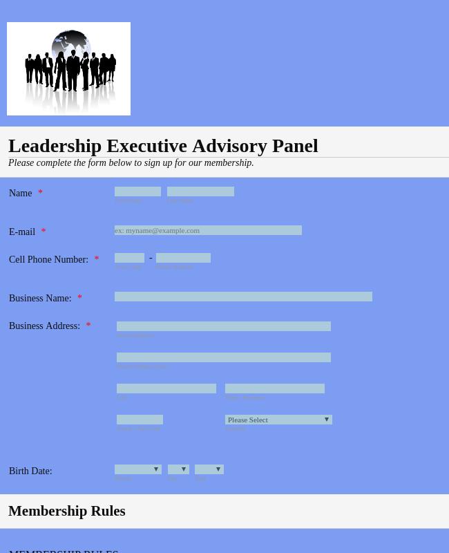 Leadership Executive Association Panel Membership Form