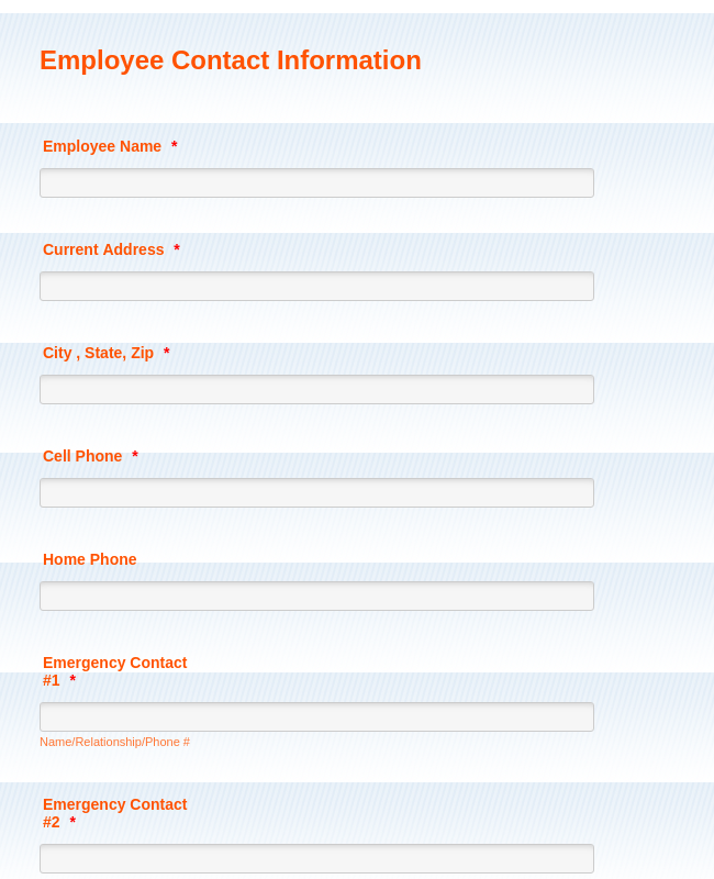 Employee Contact Information