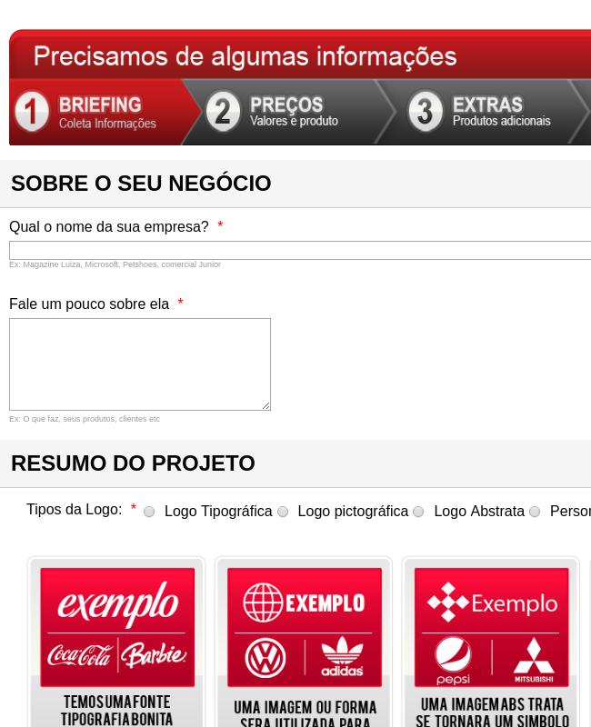 Forma Português para coletar informações  sobre empresas