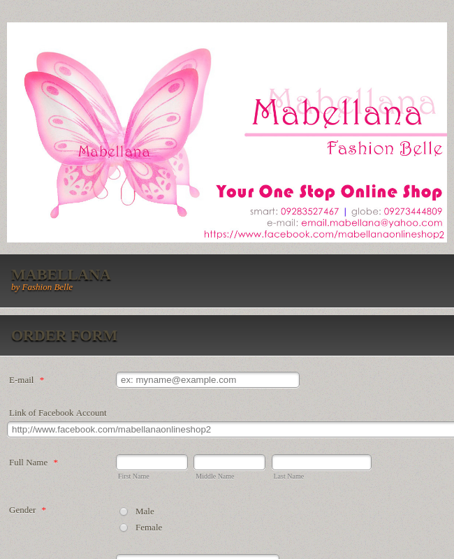 Fashion Product Order Form