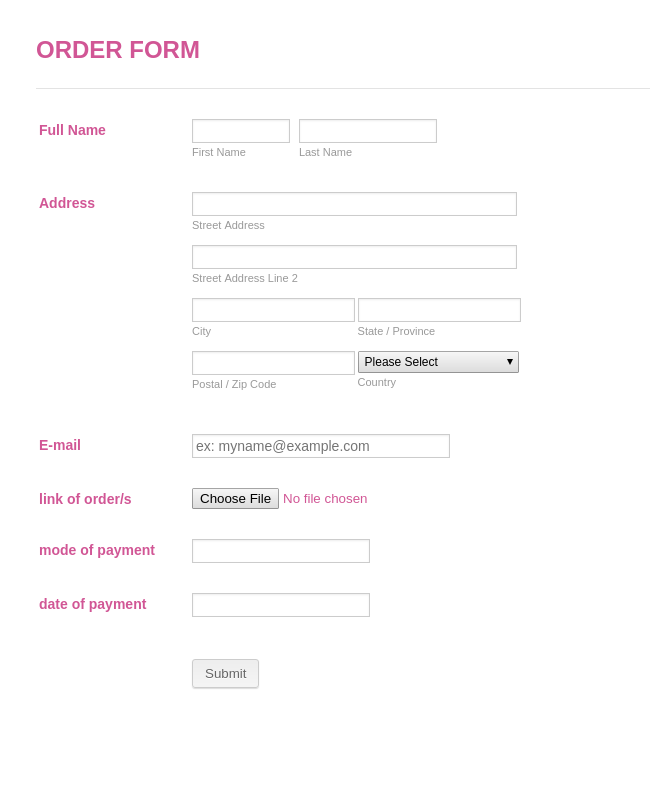 Simple Product Order Form