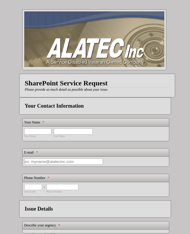 SharePoint Helpdesk Request