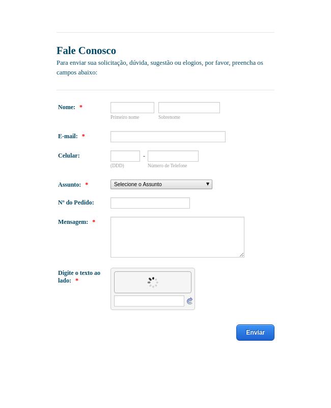 Ecommerce Contact Us Form - Portuguese