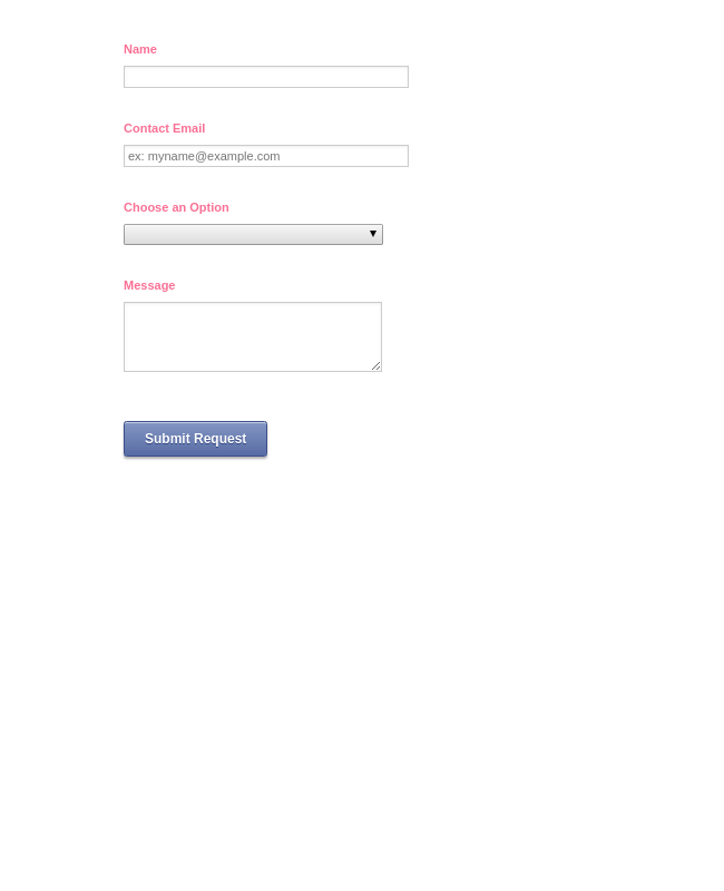 Contact Form with Pink Text