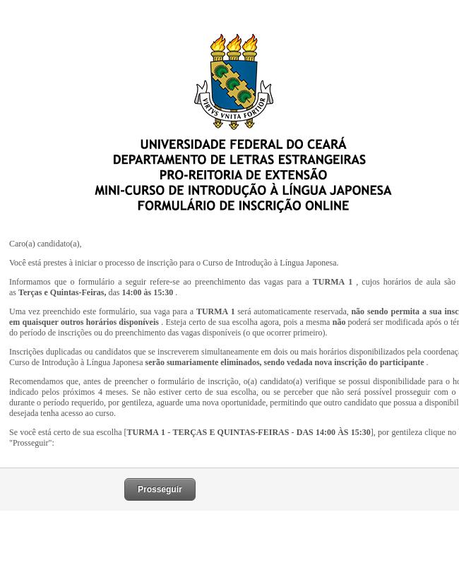 Class Registration Form - Portuguese