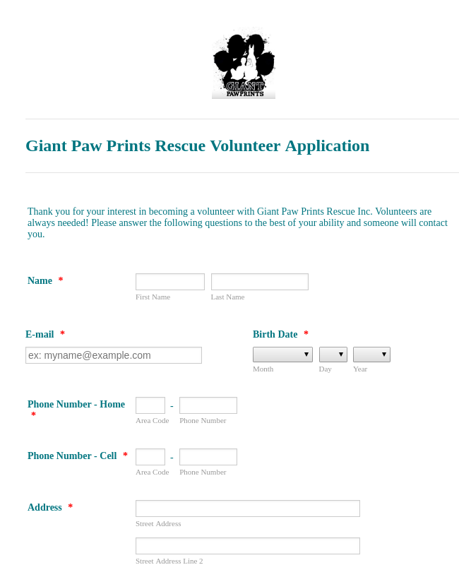 Giant Paw Prints Rescue Volunteer Application