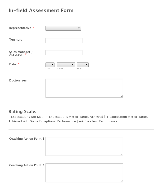 In-field Assessment Form