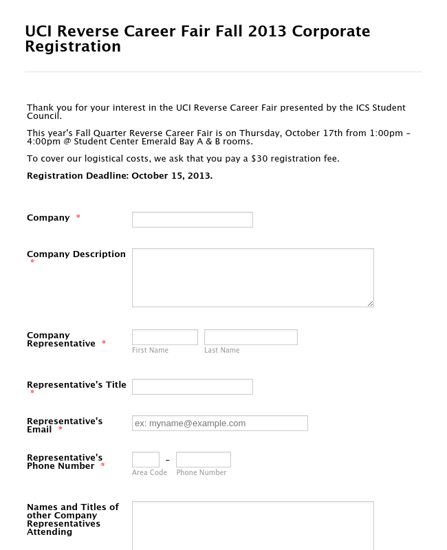 Reverse Career Registration Form