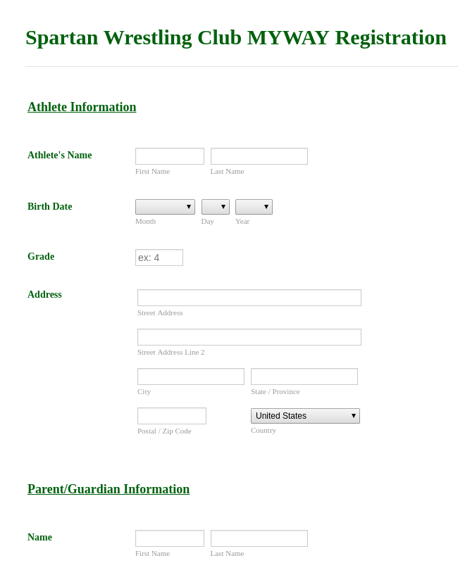Wrestling Registration Form Template Jotform