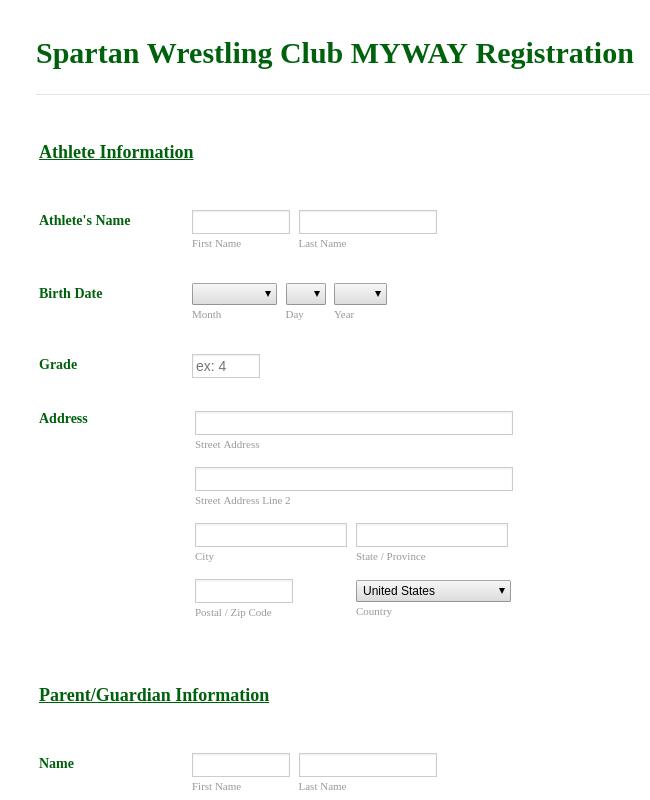 Wrestling Registration Form