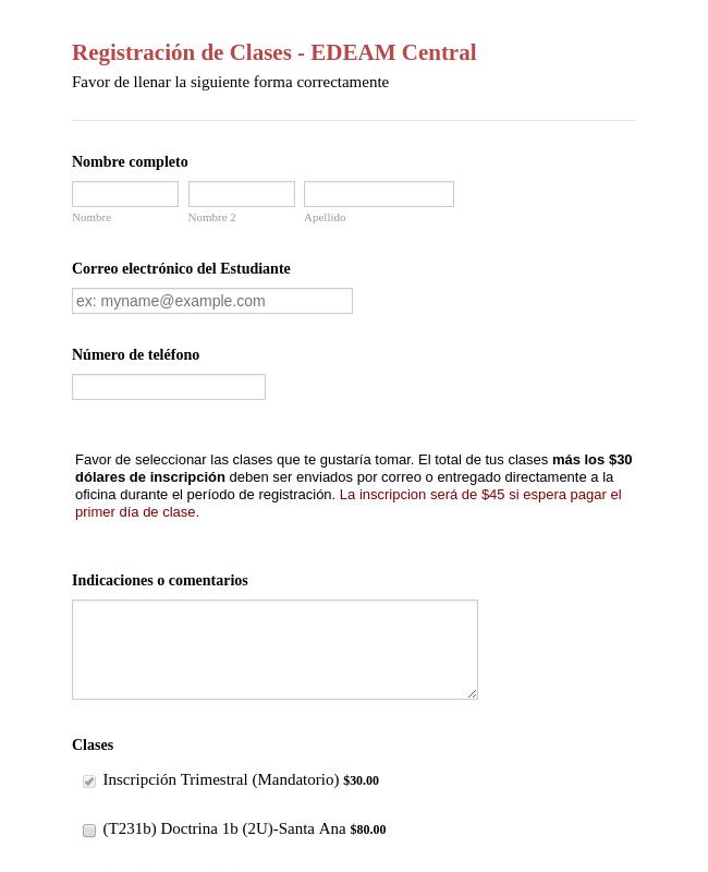 Spanish Class Registration Form