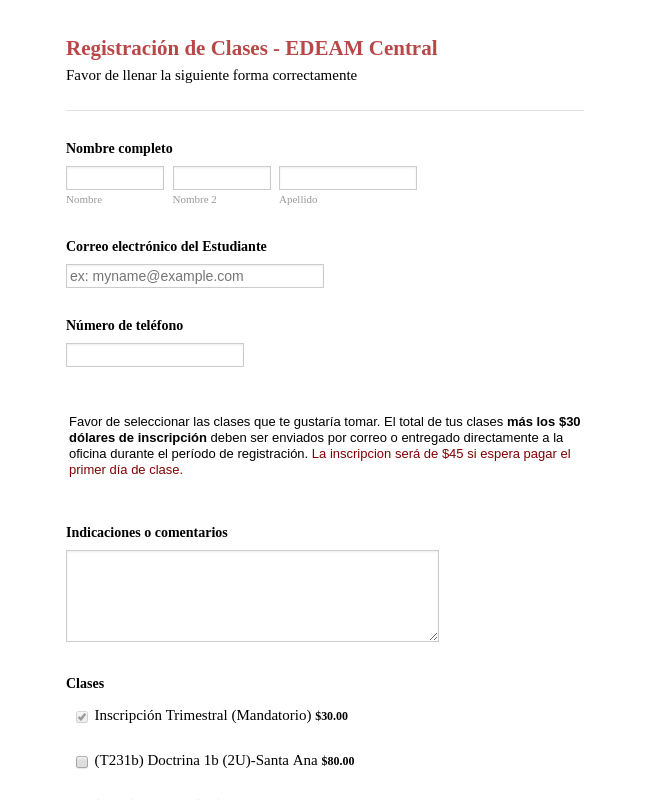 Spanish Class Registration Form