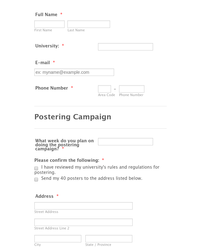 Postering Campaign 1 Request Form