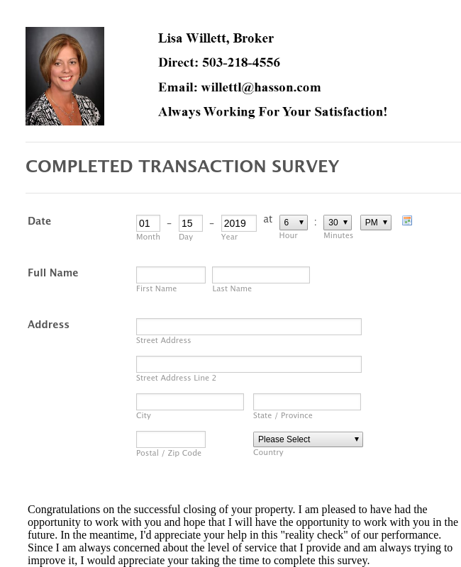 Completed Transaction Survey