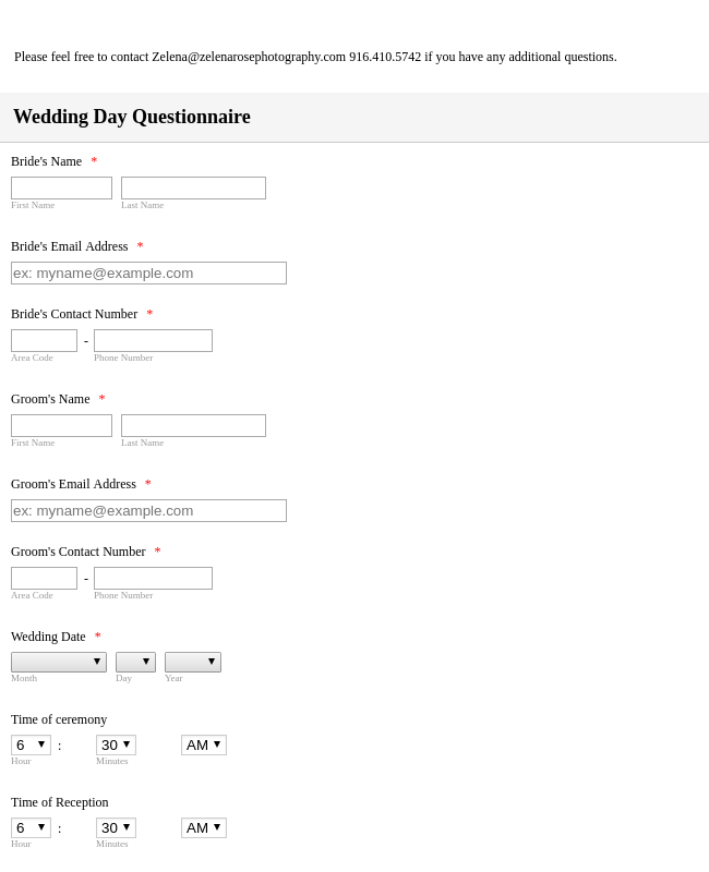 Wedding Day Questionnaire