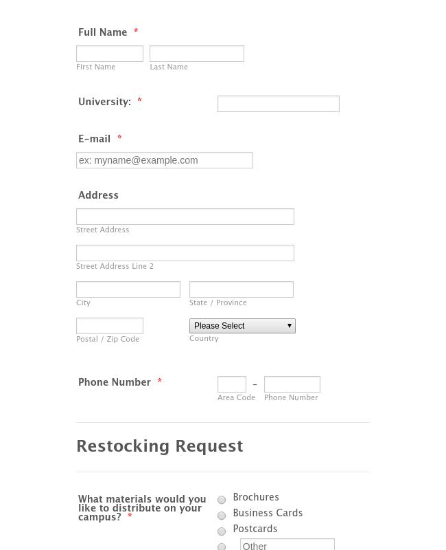 Restocking Request Form