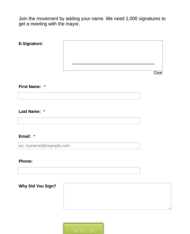Online Petition Form with E-Signature Form Template | JotForm