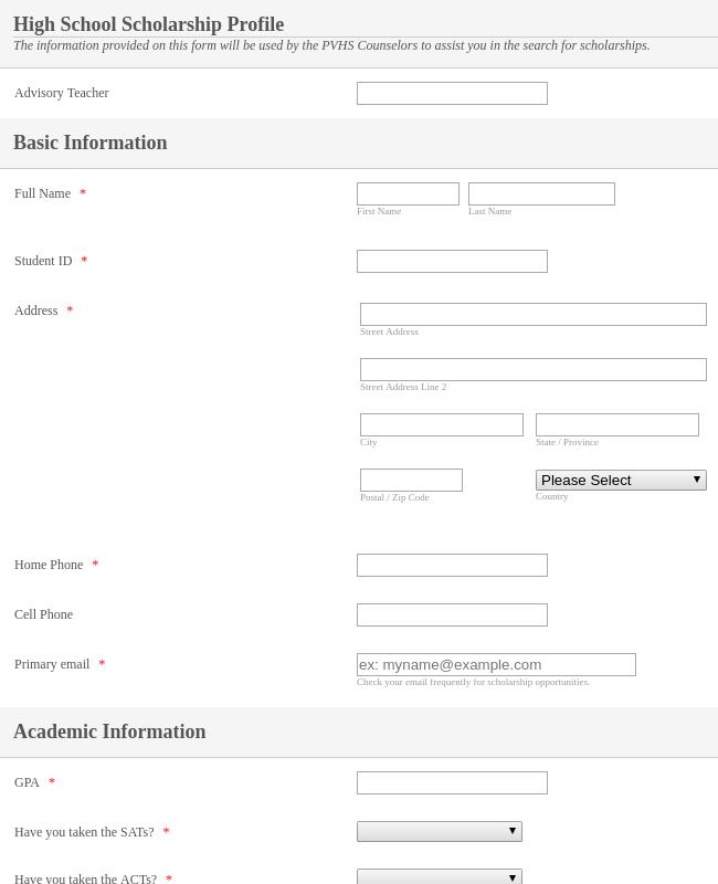 Scholarship Profile