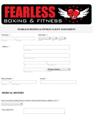Boxing and Fitness Client Assessment  Form