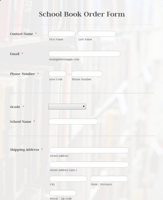 School Book Order Form