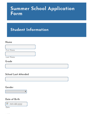 Summer School Application Form