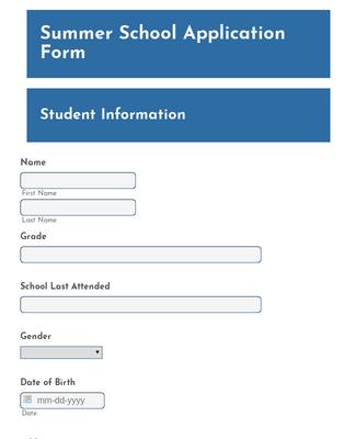 Summer School Application Form