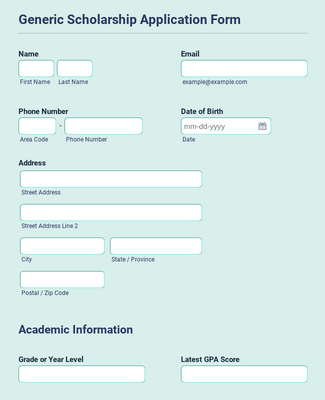 Generic Scholarship Application Form