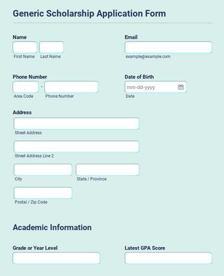 Generic Scholarship Application Form